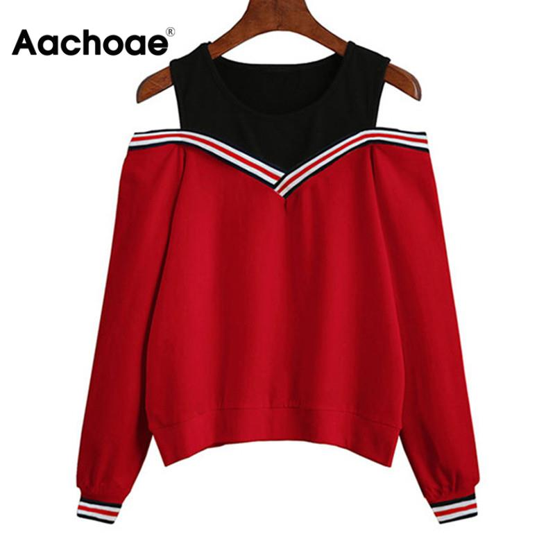 Aachoae 2020 Women Off Shoulder Leisure Pullover Hoodies Casual Autumn Long Sleeve Sweatshirt Jumper Tops Outwear Sudadera Mujer 1