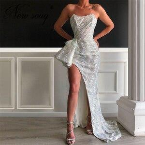 Image 1 - 중동 스팽글 공식 댄스 파티 드레스 2020 터키어 새로운 도착 이브닝 가운 두바이 높은 분할 사이드 연예인 드레스 Couture