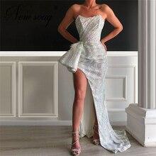 Oriente médio lantejoulas formal vestido de baile 2020 turco nova chegada vestido de noite dubai alta divisão lado vestidos celebridade couture