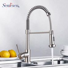 Senlesen primavera cozinha torneira da pia dupla modos de água cobre torneira da cozinha rotativa pia quente e fria