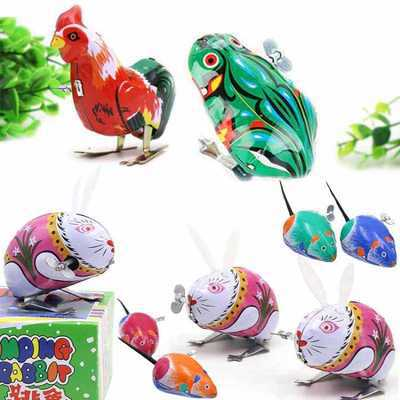80 Classic Nostalgic Mouse Rabbit Toy Frog Algam Rooster Animal Winding Spring Will Non-Run