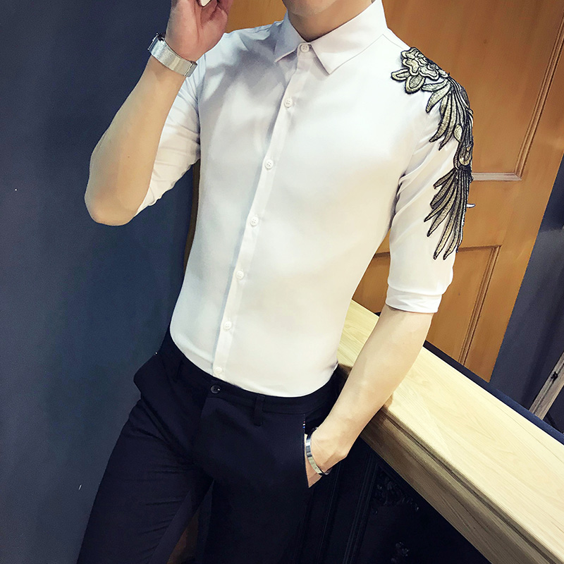 High Quality Summer Half Sleeve Shirt Men Brand New Fashion Wing Decor Mens Casual Shirts Slim Fit Streetwear Prom Tuxedo 3XL-M