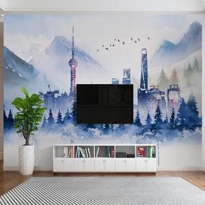 Image 2 - Современные 3D обои, простые абстрактные чернила, здание, искусство, личность, гостиная, спальня, фоновые настенные бумаги, Papel De Parede 3 D