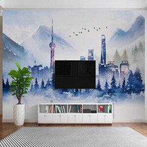 Image 2 - Nowoczesna tapeta 3D prosta abstrakcyjna atramentowa sztuka budynku osobowość salon sypialnia tło ściana papiery Papel De Parede 3 D