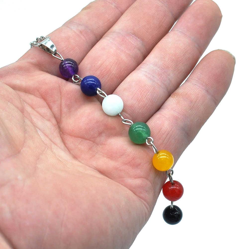 7 Chakra cuentas coloridas collar largo Yoga equilibrio piedra joyería regalo nuevo