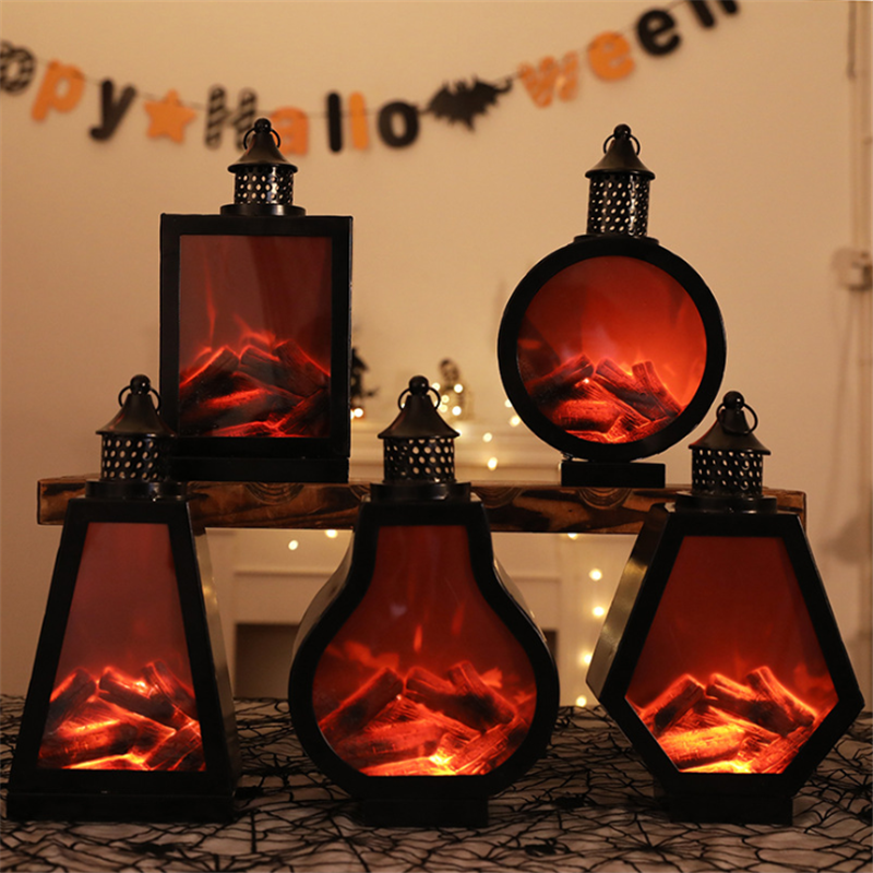 Simulation Fireplace Lamp LED Night Light Home Decoration For Christmas  Lampara Xmas Decor Wind Light Charcoal Flame Decoration