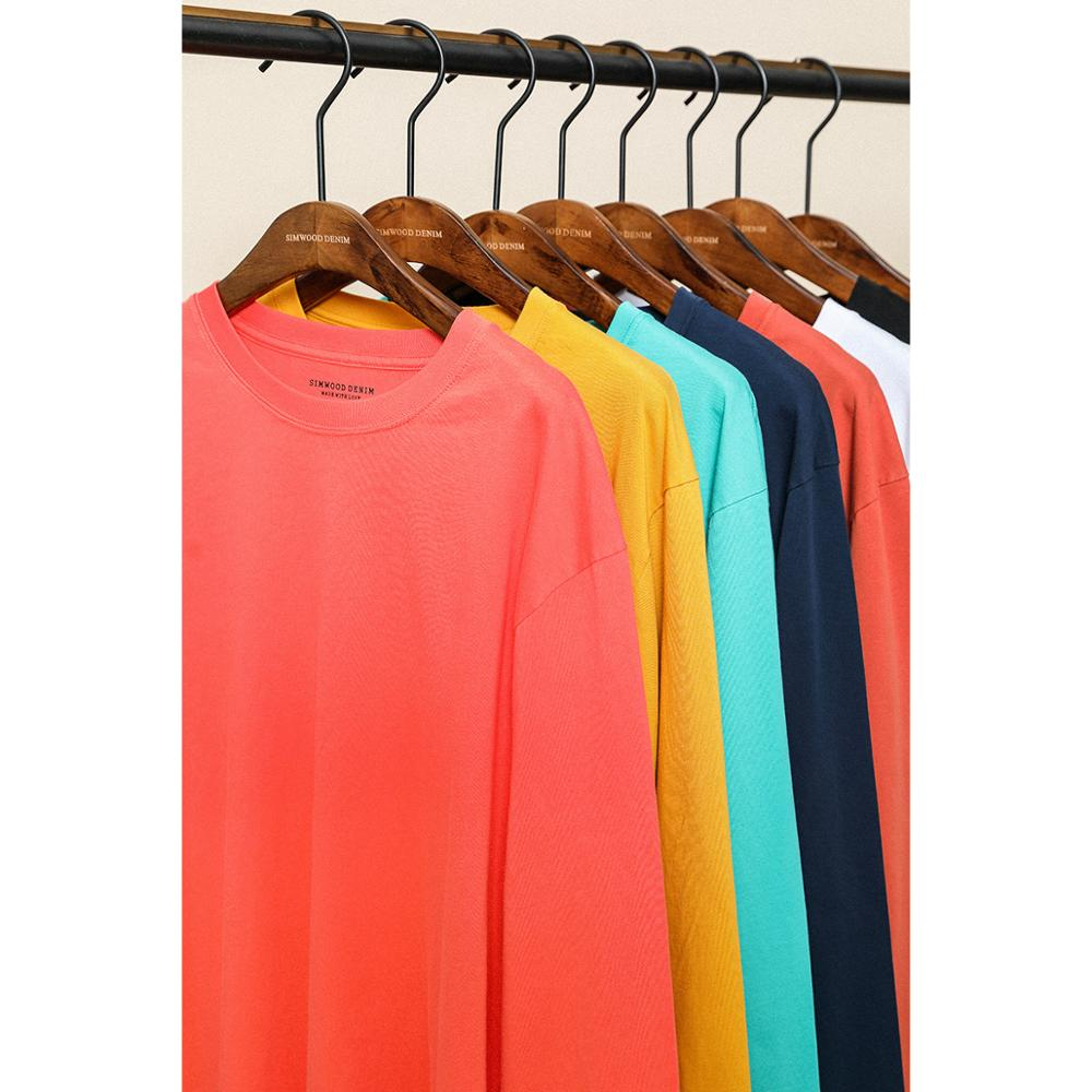 SIMWOOD 2020 Spring New Long Sleeve T Shirt Men Solid Color 100% Cotton O-neck Tops Plus Size High Quality T-shirt  SJ150278