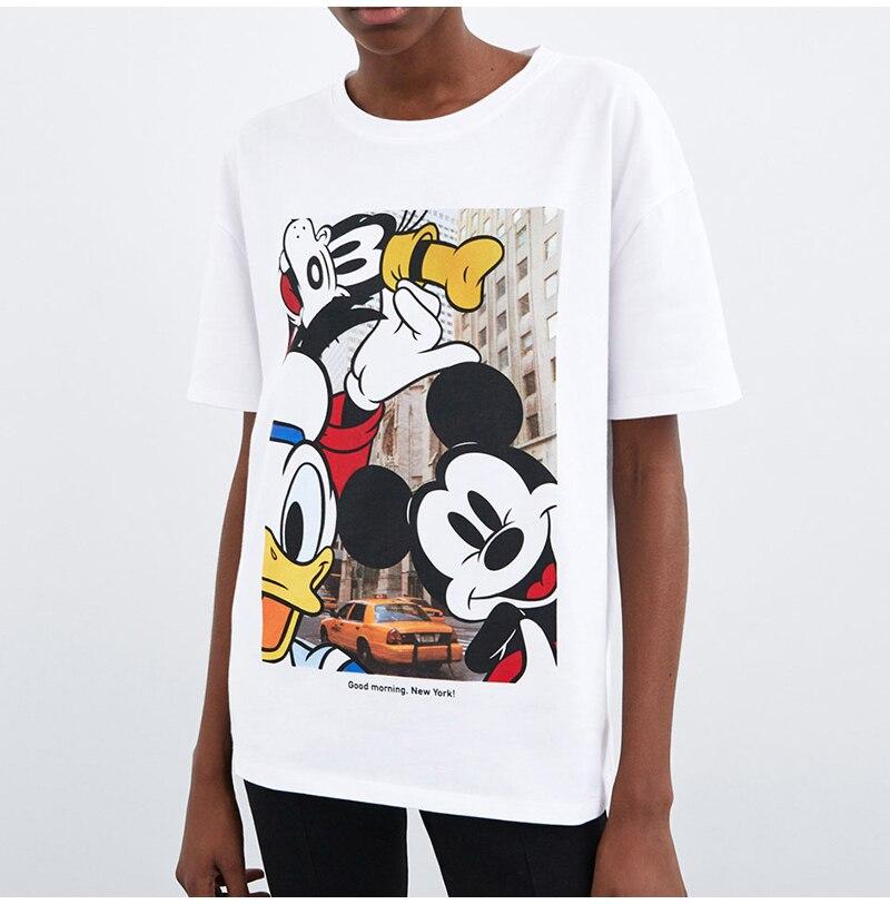Streetwear Women T Shirt Cartoon Print Summer 2019 O Neck Short Sleeve White Tops Tee Casual Knitted T-shirts