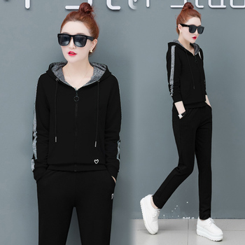 Large Size Two Piece Set Top And Pants Sportswear Tracksuit Hooded Hoodies+pants Ensemble Femme 2 Piece Sets Womens Outfits фото