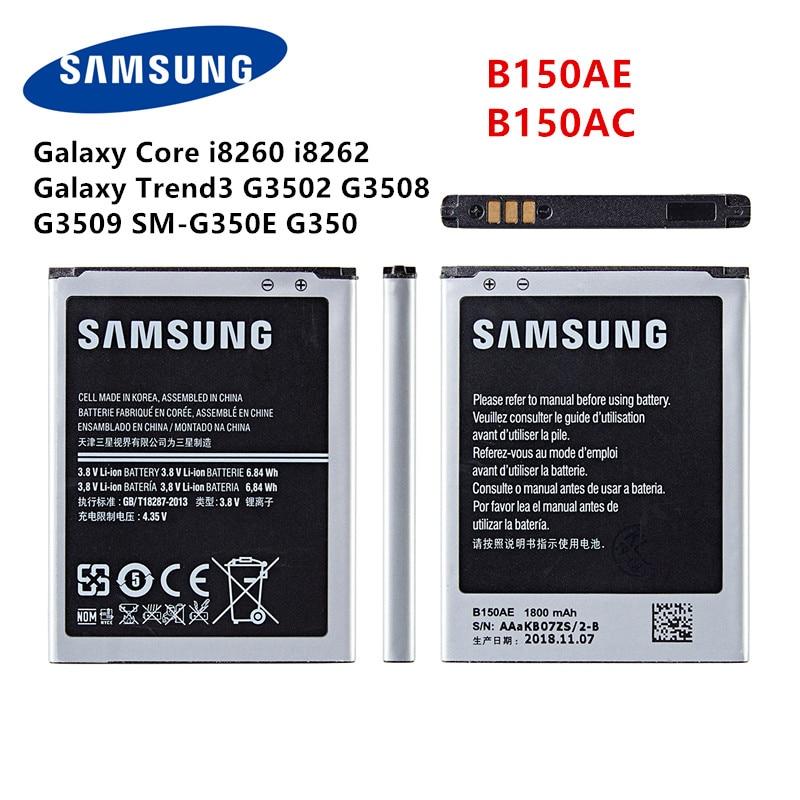 SAMSUNG Orginal B150AE B150A Battery 1800mAh For Samsung Galaxy Core I8260 I8262  Galaxy Trend3 G3502 G3508  G3509 SM-G350E G350