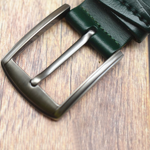 Image 2 - WESTERN AUSPICIOUS Men Belts Leather Designers Cowskin Male Strap With Alloy Buckle Ceinture Homme Green Blue belts cummerbunds