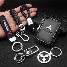 LLavero de Metal para coche, Funda de cuero con logotipo 3D para Mitsubishi asx outlander xl 3 lancer pajero 4 l200 Lan, 1 unidad