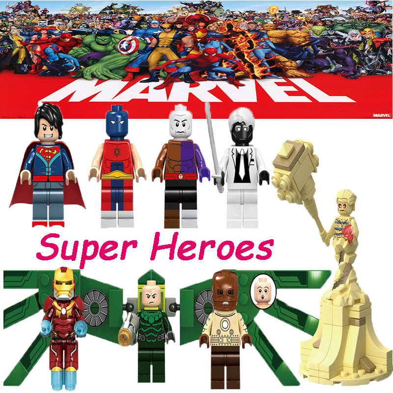 Building Blocks Action Anime Figure Superboy Metamorpho Sandman Mark 50 Vulture Model Collection Toys For Children Kids KF6072