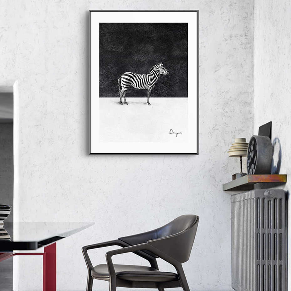 Modern siyah ve beyaz hayvanlar Zebra tuval resimleri tırnaklar posterler baskılar duvar sanatı resimleri oturma odası ev dekor