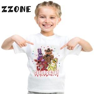 Детская забавная футболка с героями мультфильмов «пять ночей с Фредди» Детская одежда с 5 Фредди летние топы для маленьких мальчиков и дево...