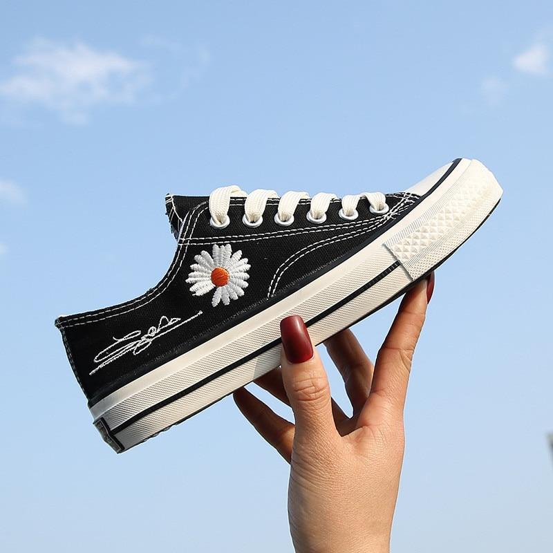 KPOP G-Dragon Embroidery Daisy Canvas Shoes PEACEMINUSONE Kwon Ji Yong JH32