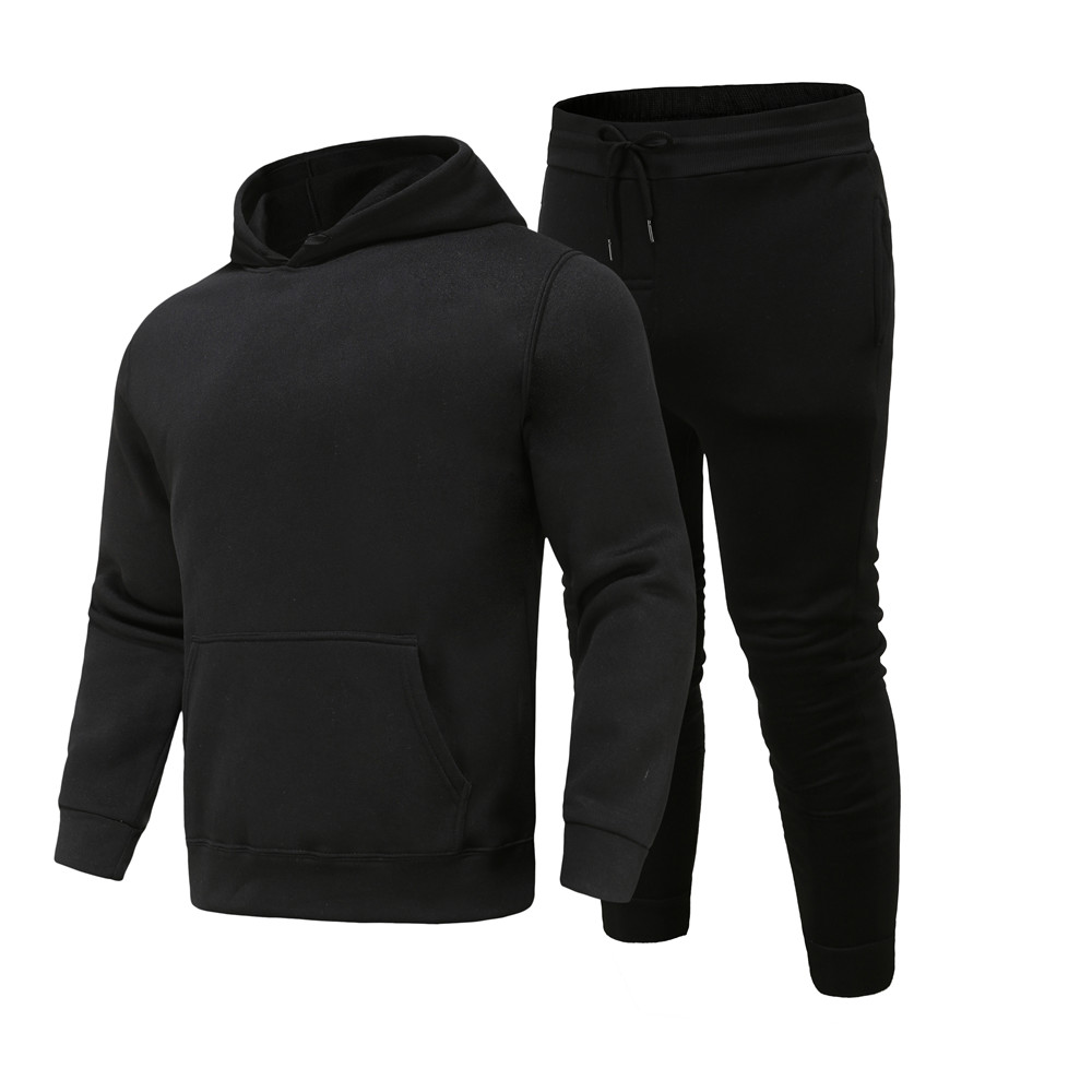2021 spring and autumn men's solid color pullover hoodie casual trousers suit mens sports and leisure two-piece men hoodies pant