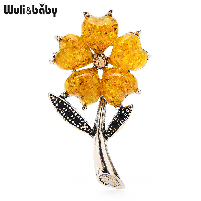 Wuli&baby Yewllow Flower Brooch Pins For Women Jewelry Gift Small Lucky Flower Pins Best Gift Office Party Accessories