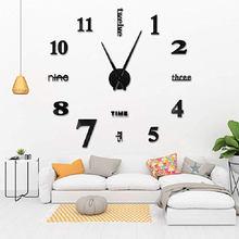 Horloge murale 3D à miroir, autocollant grand nombre, moderne, décoration pour la maison, le bureau, le salon, Design artistique, horloge murale, 40x40cm