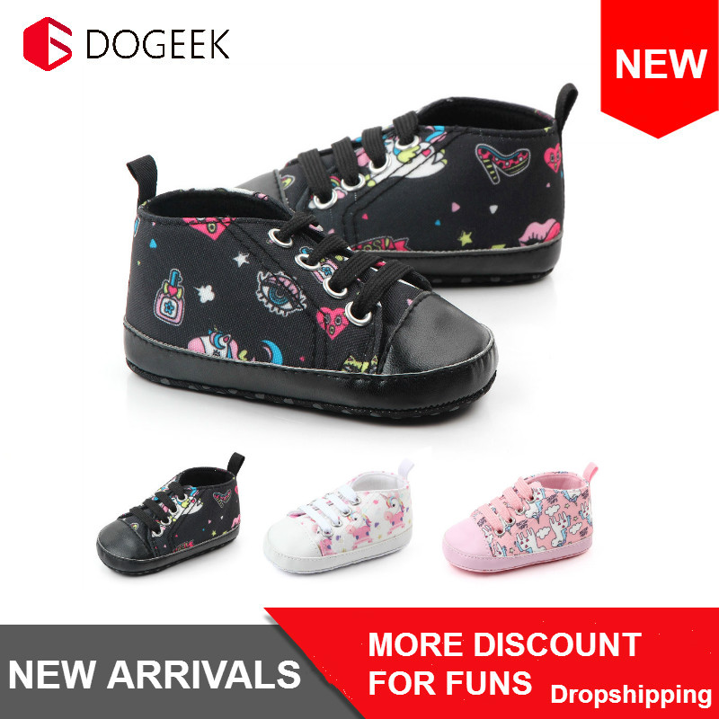 DOGEEK Spring Baby Toddler Shoes Autumn Non-slip Baby Canvas Shoes Breathable Soft-soled Shoes 0-1 Year Old Casual Shoes