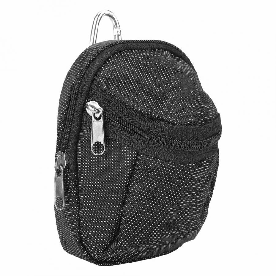 Portable Small Golf Ball Holder Bags Polyester Golf Ball Waist Bag Pack Golf Ball Storage Pouch Accessory with Keyring Black