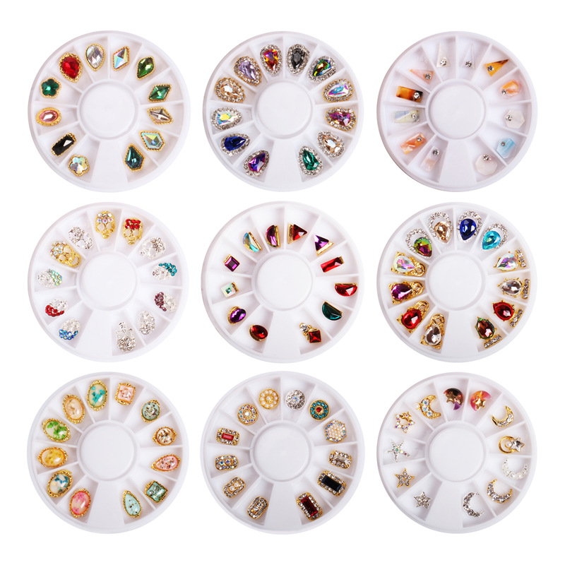 12 Grid Super Shining Diamond Rhinestone Pearl Shell Nail Design Alloy Drill DIY Nail Art Jewelry Decorations In Wheel 10 Styles
