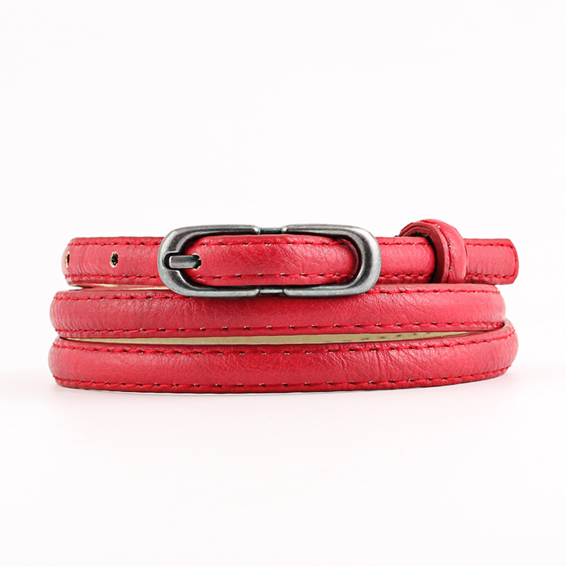 2020 New Designer Ladies White Pink Red Black Narrow Thin Belt Female Vintage Pin Buckle Waist Belts for Women Jeans Pants Strap