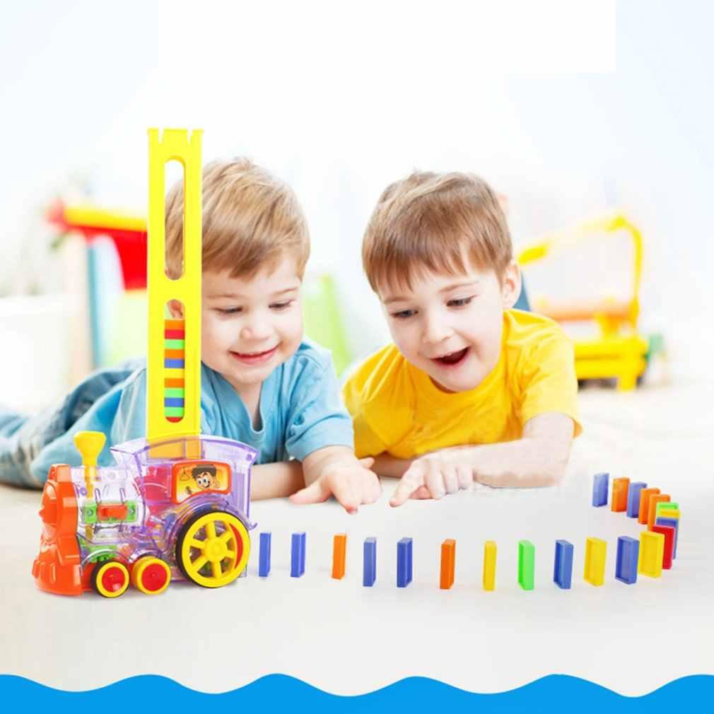 Dla dzieci Domino pociąg zestaw samochodowy z dźwiękiem światła automatyczne emisji ustawić bloki windy punkt wyjścia most zestaw dla dzieci zabawki dla dzieci