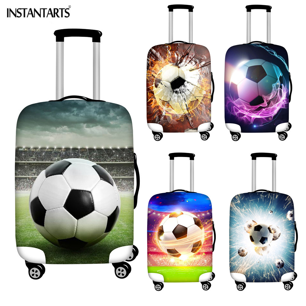 INSTANTARTS 3D Soccer Ball Print Luggage Protector Covers Apply To 18-30 Inch Suitcase Cover Trolley Case Covers Waterproof