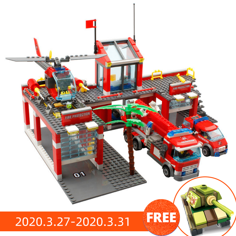 774pcs Fire Station Model Building Blocks Compatible Lego City Construction Firefighter Truck Enlighten Bricks Toys Children