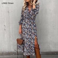 Женское платье с V-образным вырезом и цветочным принтом, осень 2020, облегающее повседневное леопардовое длинное праздвечерние чное платье ма...