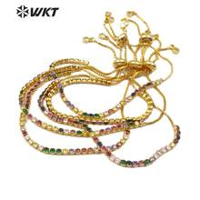 WT-MB109 Adjustable Multi Colors Cubic Zirconia Bracelet Colorful Stone Bangle 3 Color Chain Fashion Elegant Woman Jewelry(China)