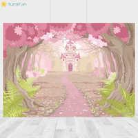 Fondo de la selva de Sunsfun Baby Shower cumpleaños fotografía telón de fondo rosa bosque foto para fotos 7x5ft