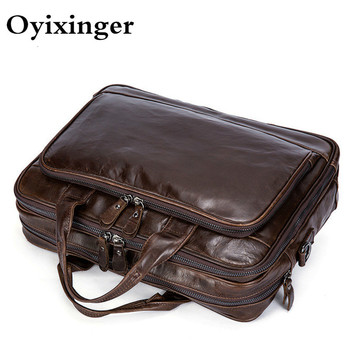 Men's Briefcases Office Cowhide Large Capacity Handbag Business Soft Genuine Leather Laptop Men Briefcase Male Messenger Bags male genuine leather bag soft handbag top layer leather large capacity crossbody messenger bags for man men business briefcase