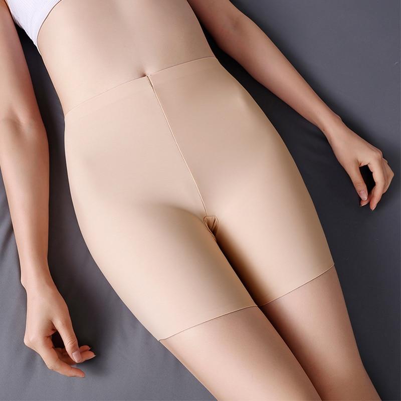 New Summer Thin Women Large Size Safety Shorts Ice Silk Cool High Elasticity Plus Size Safety Pants Shorts Under Skirt Female