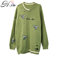 H.SA Women Cute Pullover and Sweater Green Elephant Embroidery Winter Oversized Jumpers Oneck Pull Femme 2019 sueter feminino