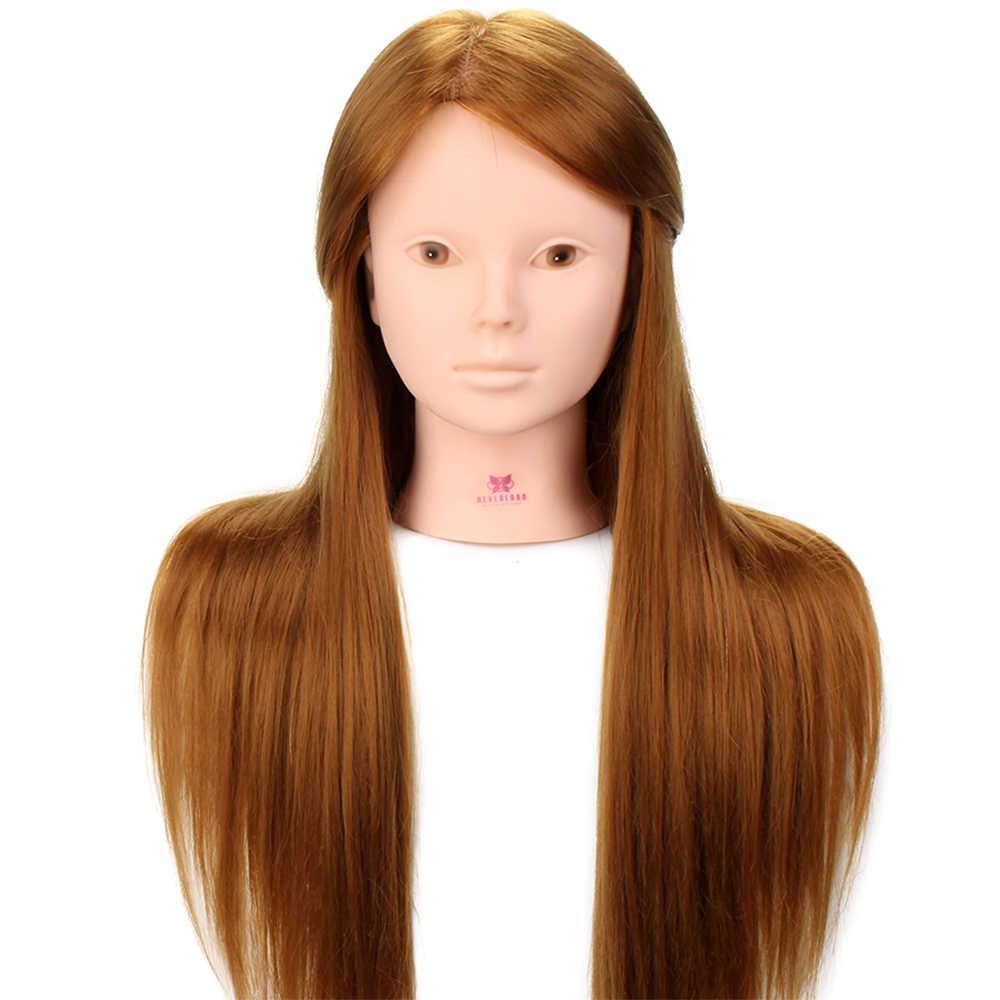 24 ''60% prawdziwe ludzkie włosy głowa manekina dla praktyka makijażu z podstawą grzebienie zestaw włosy blond szkolenia głowy manekiny z perukami