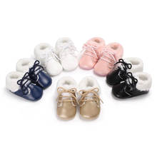 Newborn Baby Winter Snow Boots Infant Boy Girls Warm PU Crib Shoes Toddler Kids Plush Soft Sole Booties Prewalker 0-18M(China)
