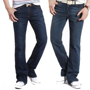 цена Color: Light blue Nostalgic Dark blue jeans Male 2019 Autumn Men's New Micro-speaker jeans Elastic Slim trumpet pants онлайн в 2017 году