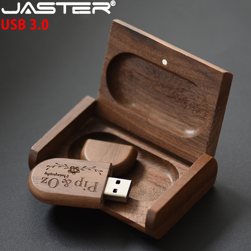JASTER USB 3.0 High Speed LOGO Wooden+Box Personal LOGO Customer Pendrive 8GB 16GB 32GB 64GB Usb Flash Drive Pen Drive U Disk