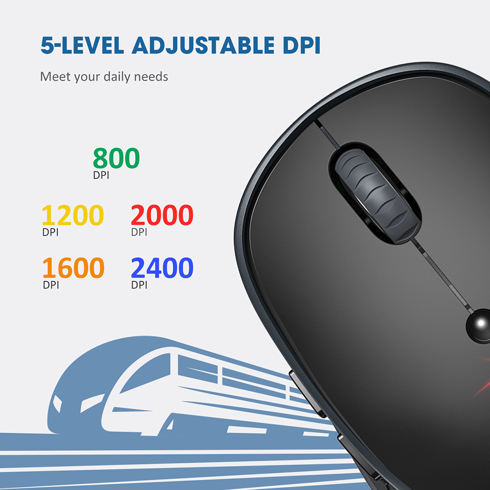 Image 3 - VicTsing PC254 Wireless Mouse 2400DPI Adjustable Portable Bluetooth Mouse 2.4Ghz USB Optical Cordless Mice For PC Tablet LaptopMice   -