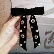 Корейские черные бархатные Элегантные галстуки бабочки с бантом