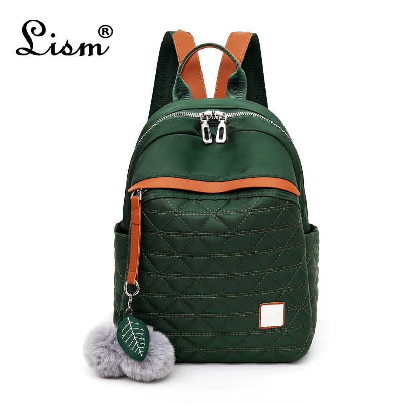 LISM Brand Ladies Backpack 2019 New Hair Ball Youth Girl Student Bag Main Style Luxury  Women Bags Designer Purse