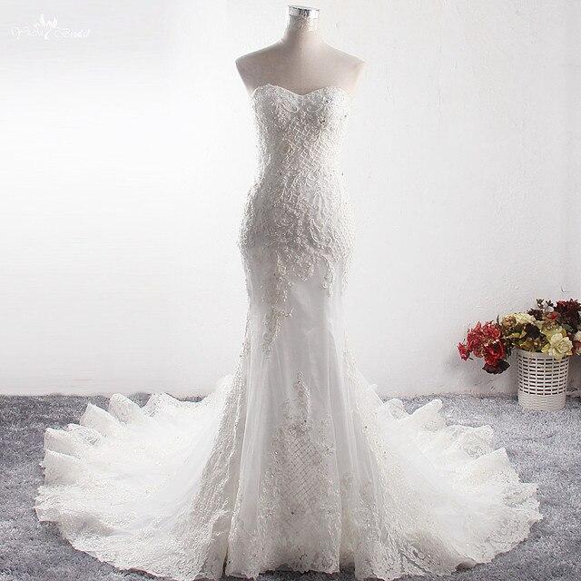 LZ373 Sexy Schatz Neck Sleeveless Lange Meerjungfrau Kleid Luxus Perlen Crysatl Hochzeit Kleid Robe De Mariage