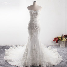 LZ373 Sexy Sweetheart Neck Sleeveless Long Mermaid Dress Luxury Beaded Crysatl Wedding Dress Robe De Mariage