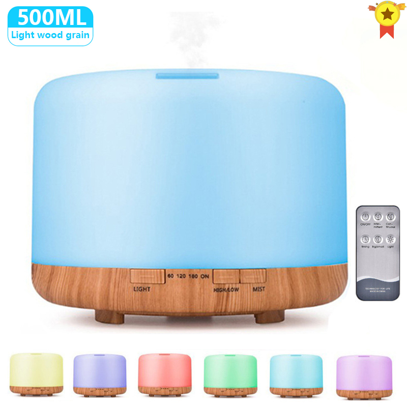 500ML Aromatherapy Diffuser Air Humidifier with LED Night Light Home Ultrasonic Cool Mist Xaomi Aroma Essential Oil Diffuser