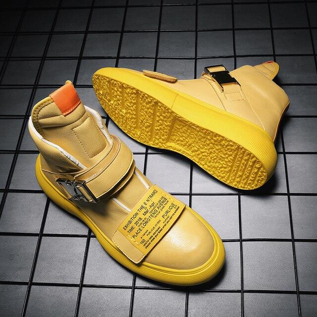 Nuevo estilo de la calle de Hip Hop para hombres zapatillas de deporte de cuero genuino zapatillas de correr para hombre al aire libre cómodo caminando zapatos deportivos hombres zapatos botas 2