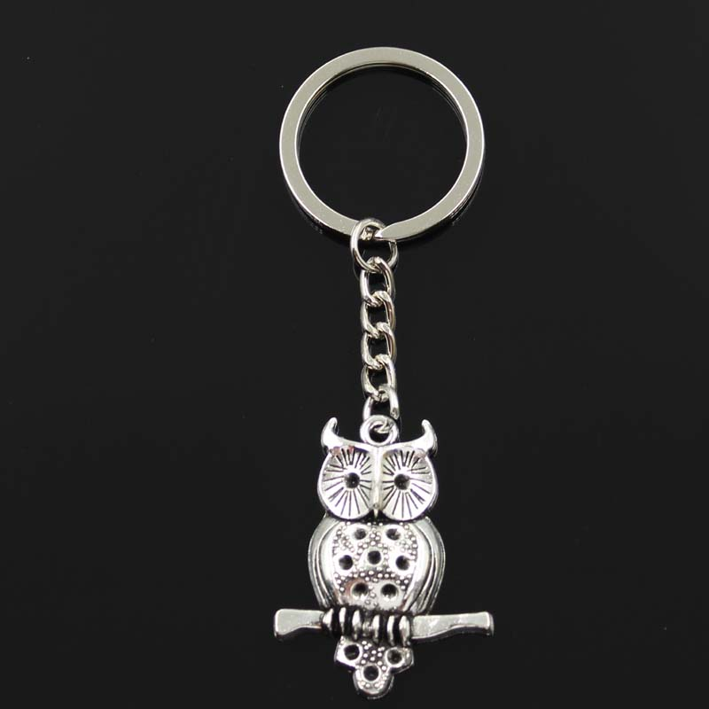 New Fashion Keychain 40x31mm Owl Standing Branch Pendants DIY Men Silver Color Car Key Chain Ring Holder Souvenir For Gift