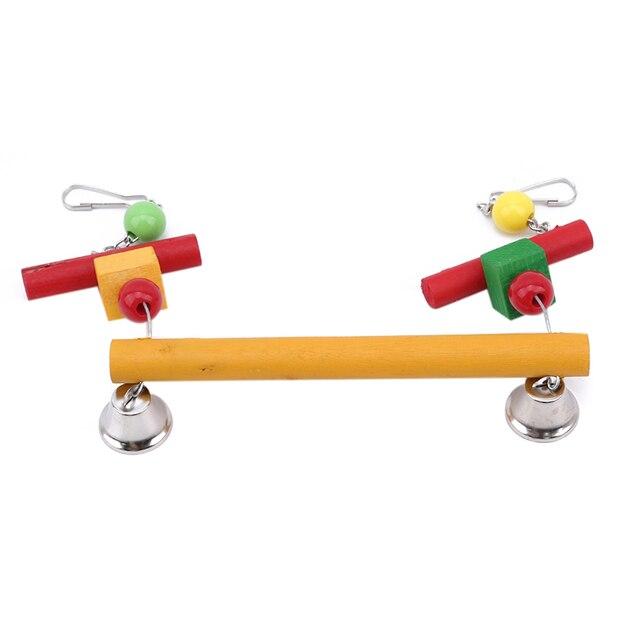 Oiseaux de compagnie balançoire morsure jouet avec cloche oiseau Cage accessoires coloré suspendu support en bois bâtons supports pour oiseaux de compagnie perroquet