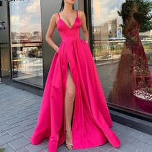 Spaghetti Strap Fuchsia Satin High Slit Long Prom Dress 2020